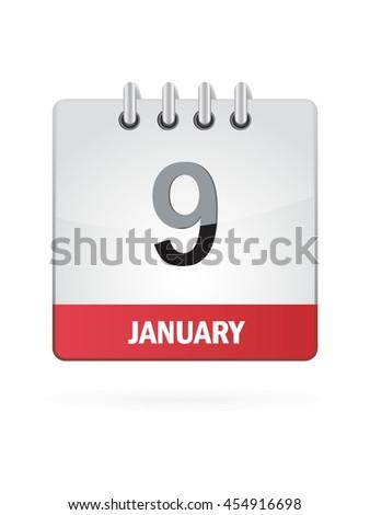 January Nine. Calendar Icon - stock vector