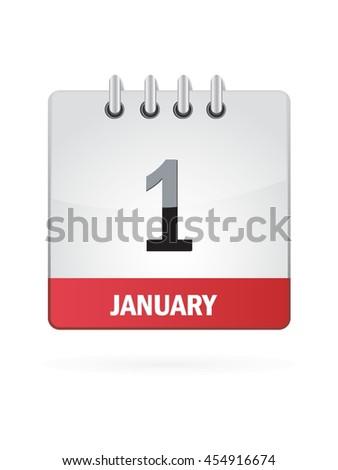 January One. Calendar Icon - stock vector