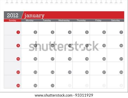 january 2012-planning calendar - stock vector