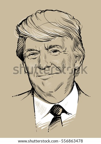 January 16, 2017: Portrait of Donald Trump. Vector illustration .eps10. Editorial use only