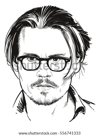 January 16, 2017: Portrait of Hollywood actor Johnny Depp. Vector illustration. Editorial use only
