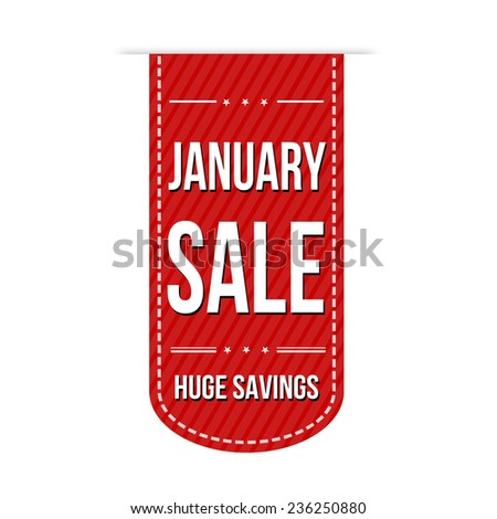 January sale banner design over a white background, vector illustration - stock vector