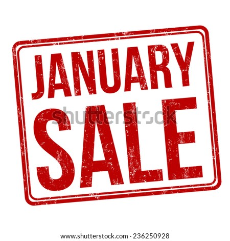 January sale grunge rubber stamp on white, vector illustration - stock vector