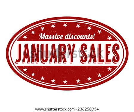 January sales grunge rubber stamp on white, vector illustration - stock vector