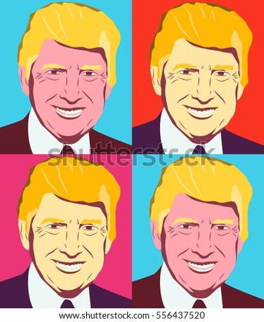 january set of vector of the usa president donald trump in
