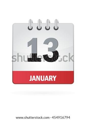 January Thirteen. Calendar Icon - stock vector