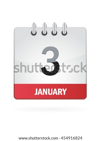 January Three. Calendar Icon
