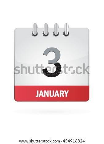 January Three. Calendar Icon - stock vector