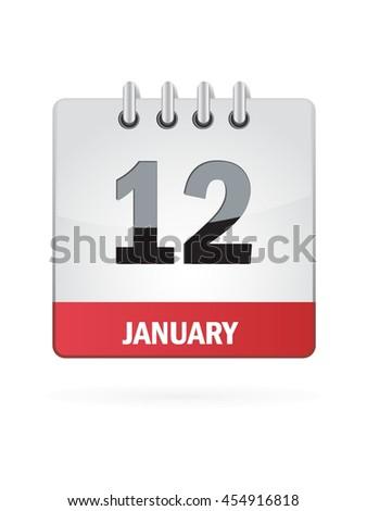 January Twelve. Calendar Icon - stock vector