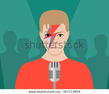 JANUARY 13 2016: Vector Illustration of David Bowie with microphone, eps10, vector, illustrative editorial - stock vector - stock vector