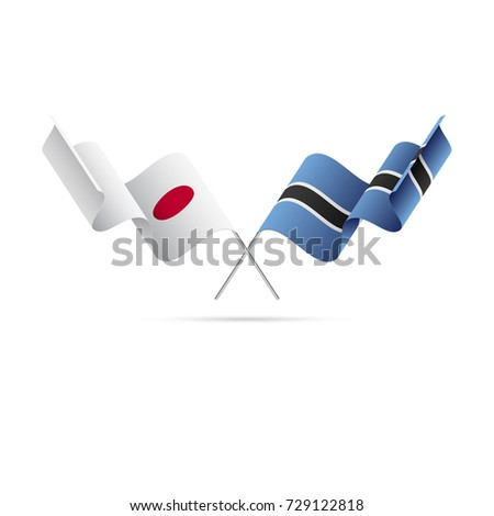 Japan and Botswana flags. Vector illustration.