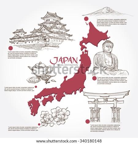 Japan background design. travel concept. - stock vector