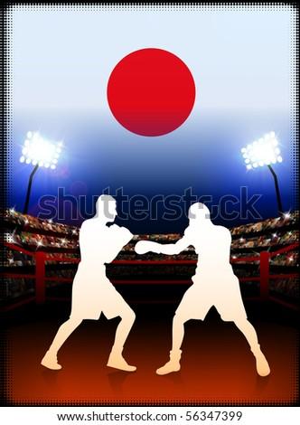 Japan Boxing on Stadium Background Original Illustration - stock vector
