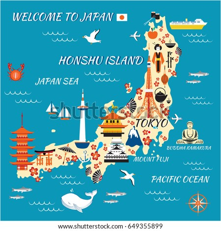 Japan Cartoon Travel Map Vector Illustration Stock Vector - Japan map fuji