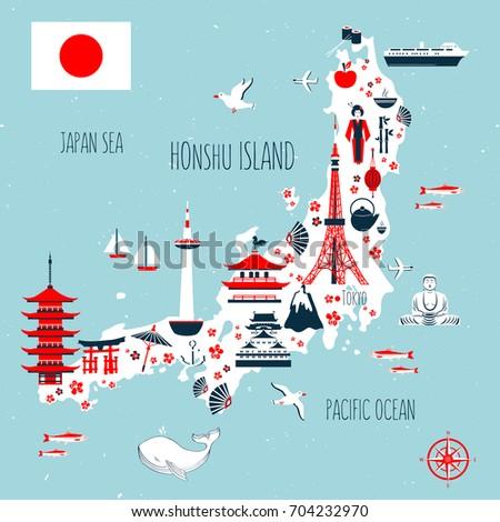 Japan Cartoon Travel Map Vector Illustration Stock Vector 704232970
