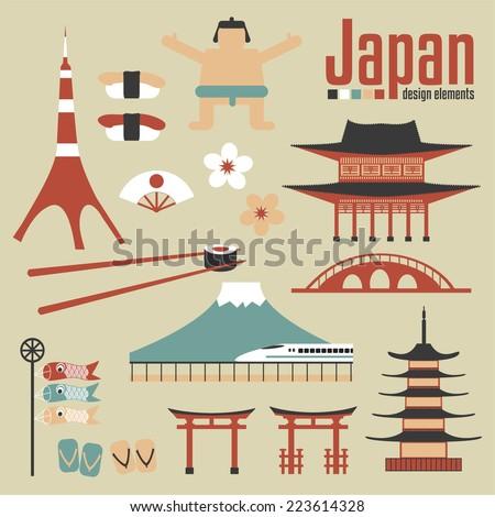 Japan design elements - stock vector