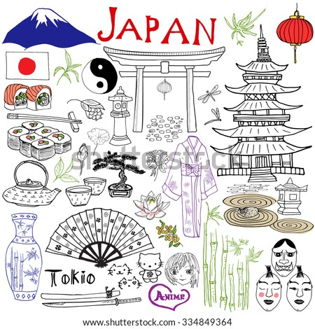 Japan doodles elements. Hand drawn set with Fujiyama mountain, Shinto gate, Japanese food sushi and tea set, fan, theater masks, katana sword, pagoda, kimono. Drawing doodle collection, isolated - stock vector