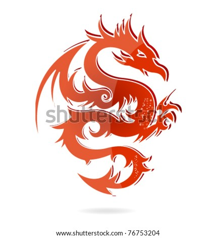 japan dragon sign isolated - stock vector