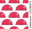 Japan eamless pattern as umbrella or parasol with butterfly - stock vector