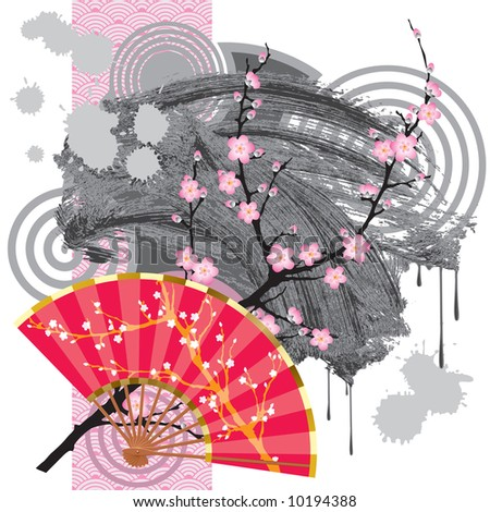 Japan fan with a blooming branch, a grey blot and a rose seamless - stock vector