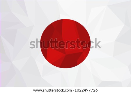 Japan flag on a textured background.The flag of Japan. Vector illustration.