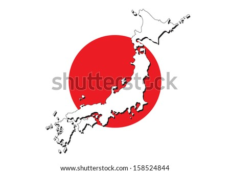 Japan flag on map of country vector images - stock vector