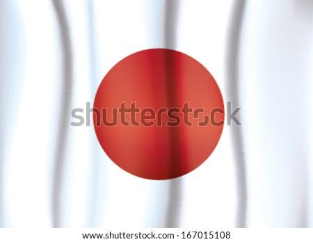 JAPAN FLAG, satin curtain wave flag vector - stock vector