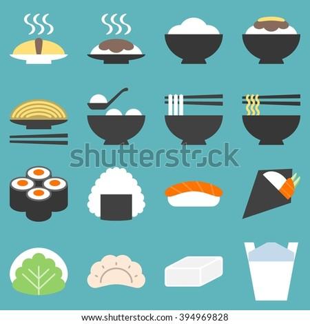 japan food icon, soba, gyoza, yakisoba, sushi, mochi, onigiri, temaki, flat design - stock vector