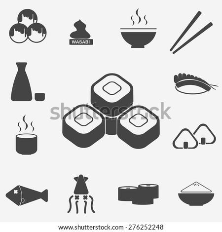 japan food icons set - stock vector