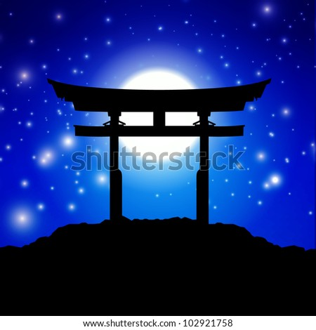 Japan gate in midnight with moon - stock vector