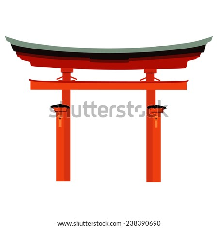 Japan gate isolated on white, torii gate, japanese gate - stock vector
