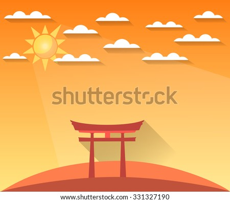 Japan Gate. Torii gate. Shinto. Landscape in a flat style with sun and clouds. Vector illustration of sunrise, sunset. Sight. - stock vector