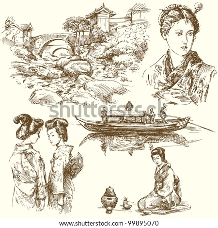japan - hand drawn collection - stock vector