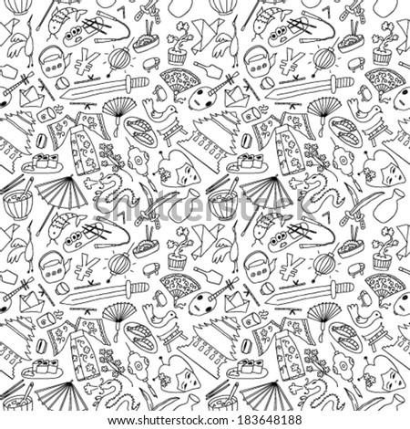 Japan hand drawn seamless - stock vector