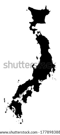 Japan high detailed vector map isolated on white background. - stock vector