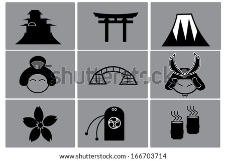 japan icon set - stock vector