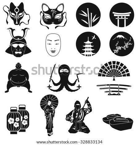 japan icons vector set japanese theme symbols bamboo and. Black Bedroom Furniture Sets. Home Design Ideas