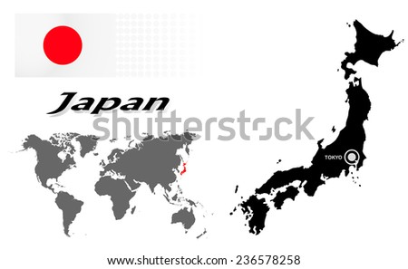 Japan info graphic with flag , location in world map, Map and the capital ,Canberra, location.(EPS10 Separate part by part) - stock vector
