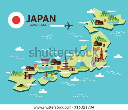 Japan landmark and travel map. Flat design elements and icons. vector illustration - stock vector