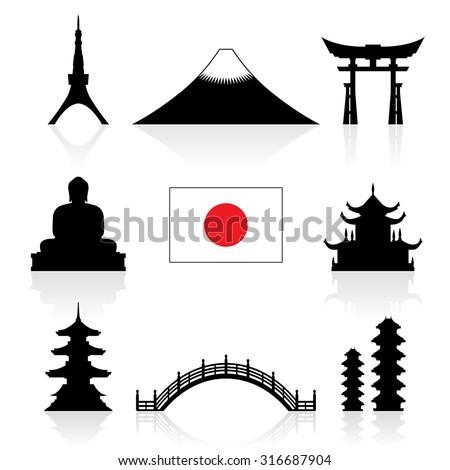 Japan Landmarks Icon Set. Vector and Illustration. - stock vector