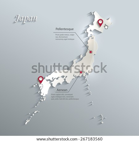 Japan map blue white card paper 3D vector infographics vector - stock vector
