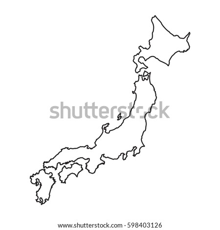 Japan Map Line Style Vector Illustration Stock Vector - Japan map vector art