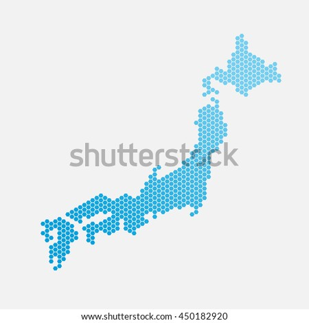 Japan map of blue gradient hexahedrons