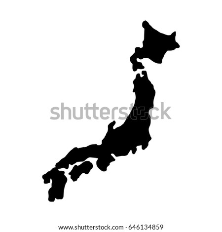 Japan Map Silhouette Vector Illustration Sketch Stock Vector - Japan map black and white