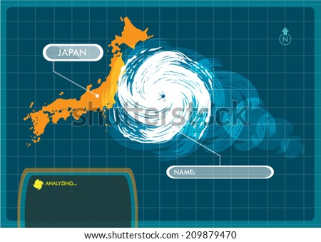 Japan Map with Eye of Typhoon, Cyclone or Storm Vector - stock vector