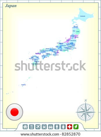 Japan Map with Flag Buttons and Assistance & Activates Icons Original Illustration - stock vector