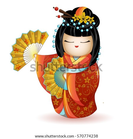 Japan National kokeshi doll in red kimono with fans. Vector illustration on white background. A character in a cartoon style. Isolated.