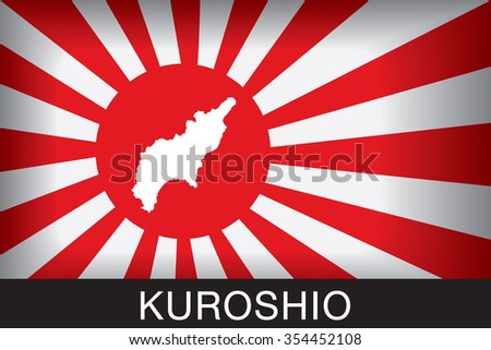Japan Navy Flag An Navy Flag Japan with blue background and message, Kuroshio and map, vector art image illustration  - stock vector