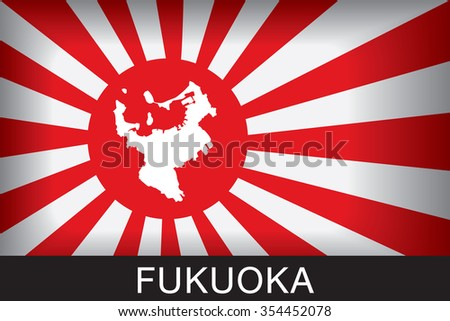 Japan Navy Flag An Navy Flag Japan with red background and message, Fukuoka and map, vector art image illustration  - stock vector