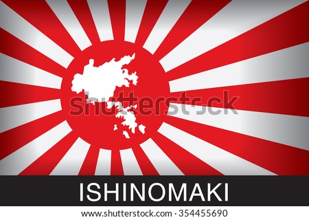 Japan Navy Flag An Navy Flag Japan with red background and message, Ishinomaki and map, vector art image illustration - stock vector